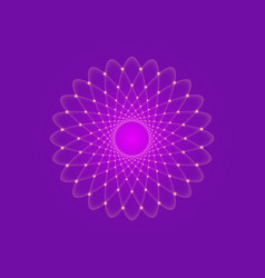 Bright purple lotus flower life sacred geometry vector