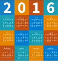Calendar 2016 year in flat color vector