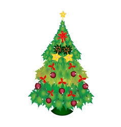 Candy Canes and Bow on Christmas Tree of Maple vector image