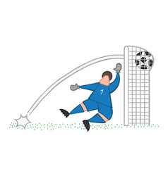 cartoon goolkeeper man concede a goal vector image