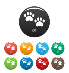 Cat step icons set color vector