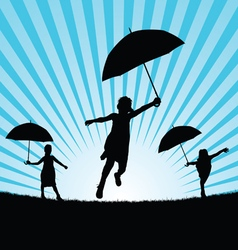 children with umbrella in nature vector image