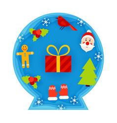 Christmas decorative ball papercut vector