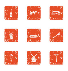 Cleaning field icons set grunge style vector