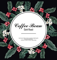 Coffee arabica beans wreath design with brach vector