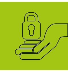 Concept e-commerce hand with padlock password vector