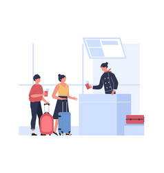 couple passport control at airport and get tickets vector image