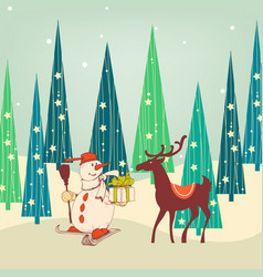 cute christmas scene snowman and reindeer vector image