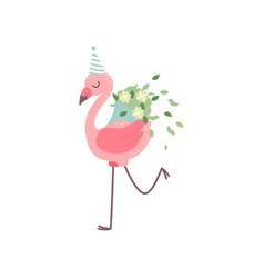 Cute flamingo wearing party hat with bouquet of vector