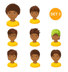 cute little african boys with various hair style vector image