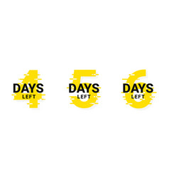 Days left to go from 1 to 3 promotional vector