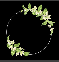 Decor element with jasmine in a shape of a ring vector