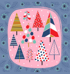 decorative card with beautiful christmas trees vector image