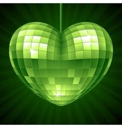 disco heart green mirror ball vector image