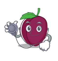 Doctor plum character cartoon style vector