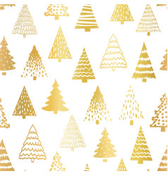doodle tree pattern gold foil on white seamless vector image