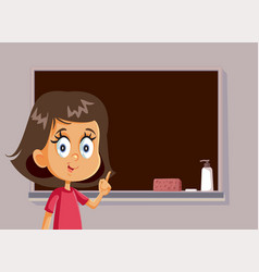 female student standing in front a blackboard vector image