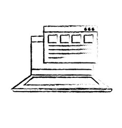 Figure laptop with business virtual document vector
