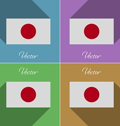 Flags Japan Set of colors flat design and long vector image