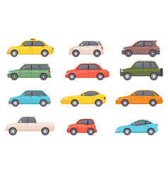 flat cars cartoon vehicle side view taxi vector image