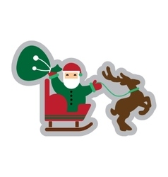 Flat icon with long shadow Santa Claus in sleigh vector