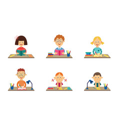 Flat kids studying at desks set vector