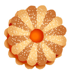 Flower jelly biscuit icon cartoon style vector