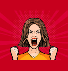 Girl or young woman screaming out loud pop art vector