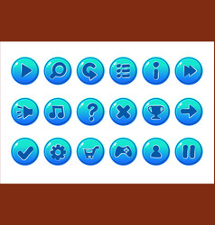 Glossy blue buttons for all kinds of casual vector