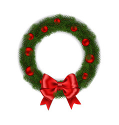 Green christmas wreath with red ribbon bow and bal vector