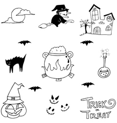 Halloween witch doodle vector image