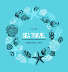 hand drawn border with seashells starfish and vector image