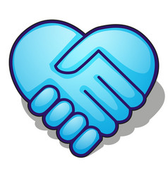 Handshake symbol forming a blue heart isolated on vector