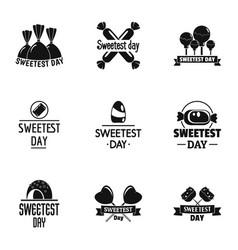 happy sweetest day logo set simple style vector image