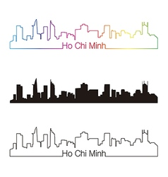 Ho chi minh skyline linear style with rainbow vector