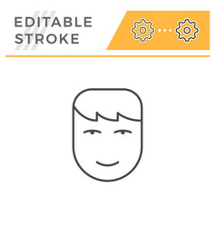 human face editable stroke line icon vector image