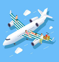 isometric flight to summer concept with vector image