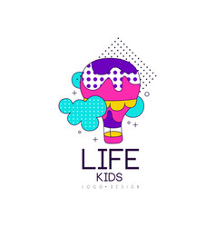 Kids life logo design bright label for kids club vector