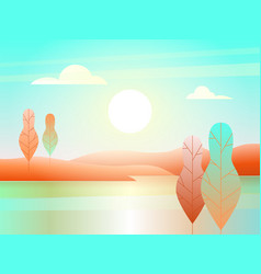 landscape with river in flat design vector image