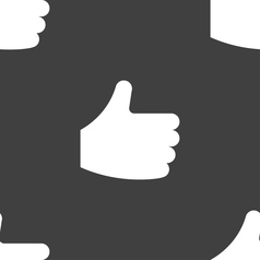 Like Thumb up icon sign Seamless pattern on a gray vector image
