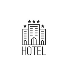 linear simple icon of luxury hotel with stars vector image
