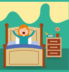 Little girl wake up on bed in the morning vector