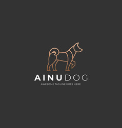 Logo ainu dog elegant line art vector