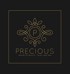 Luxurious letter p logo with classic line art vector