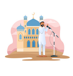 Male muslim character is calling to prayer vector