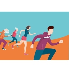 marathon group running people cartoon flat vector image