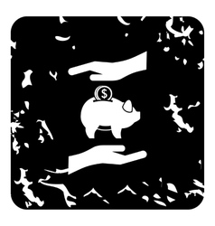 Money or savings insurance icon grunge style vector image