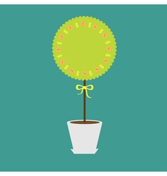 Money tree with dollar sign and coins in the pot vector image