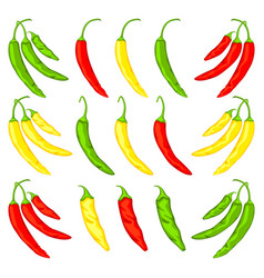 multicolor cartoon hot chilli pepper set vector image