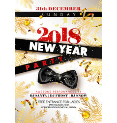 New year 2018 party promotional poster with black vector
